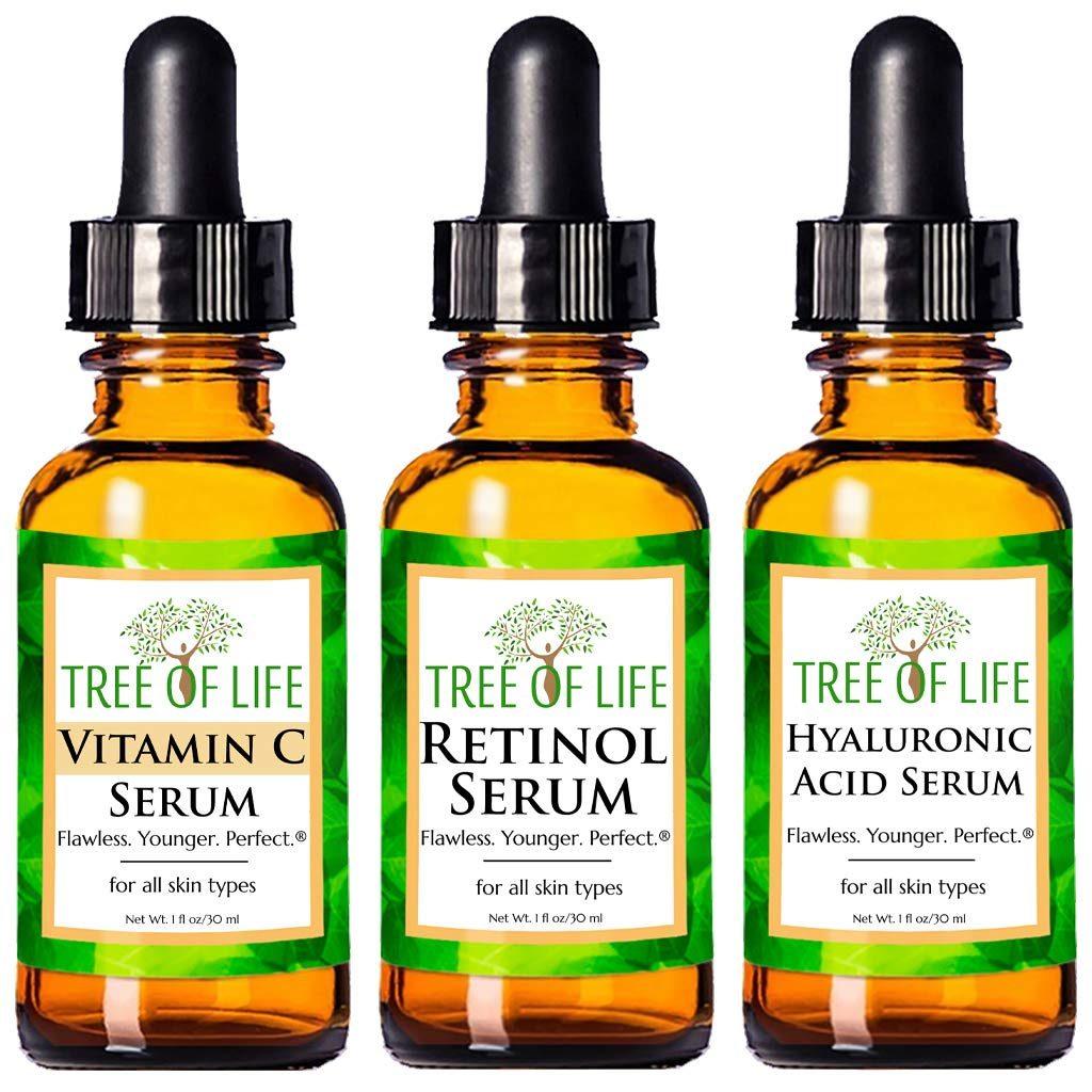 Anti Aging Serum 3-Pack for Face - Vitamin C Serum, Retinol Serum, Hyaluronic Acid Serum